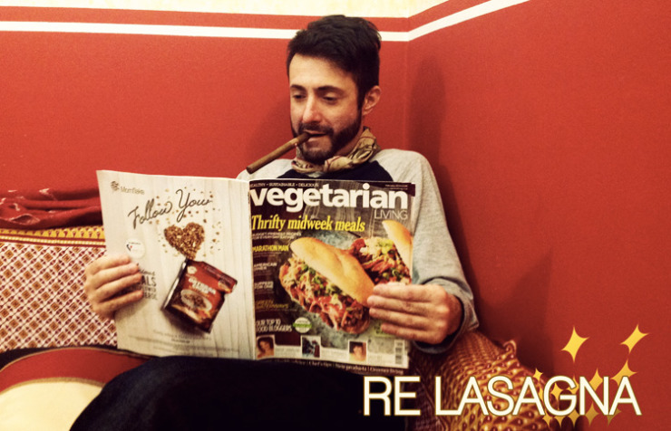 Re Lasagna® reading Vegetarian Living